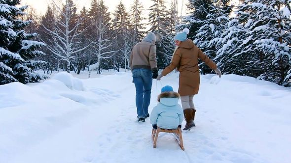 Young Parents Sledding His Child