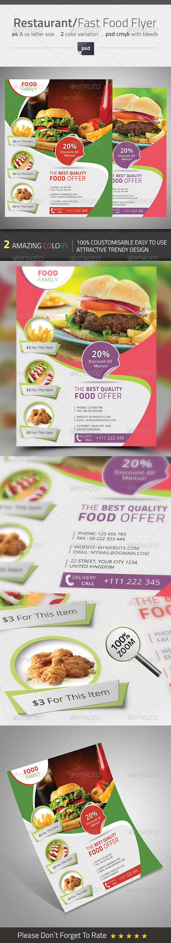 GraphicRiver Restaurant Fast Food Flyer 8550625