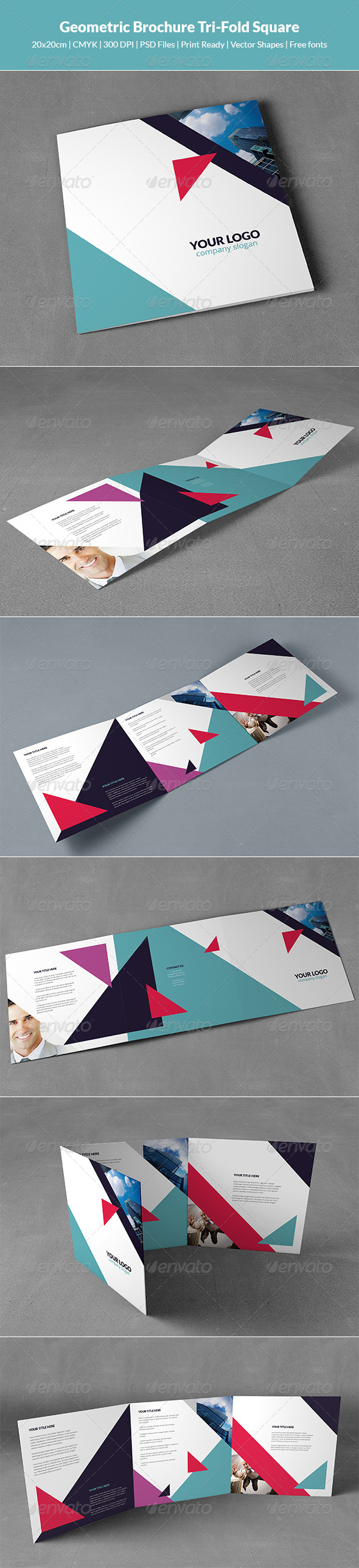 GraphicRiver Geometric Brochure Tri-Fold Square 8548184