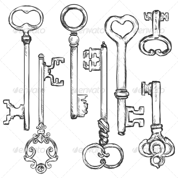 GraphicRiver Vector Set of Sketch Antique Keys 8550755