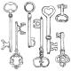 Vector Set of Sketch Antique Keys.  - GraphicRiver Item for Sale