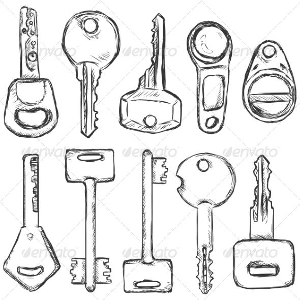 GraphicRiver Vector Set of Sketch Modern Keys 8550757