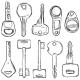 Vector Set of Sketch Modern Keys.  - GraphicRiver Item for Sale