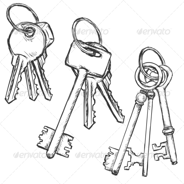 GraphicRiver Vector Set of Three Sketch Keys Bunchs 8550760