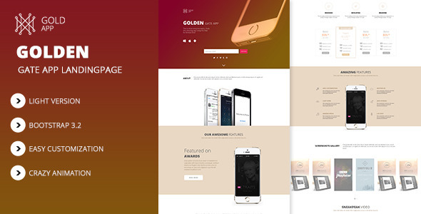 GoldenApp Responsive App Landing HTML Theme - Apps Technology