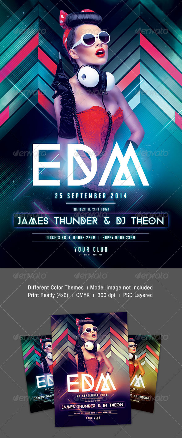 Print template graphicriver edm party flyer 8551572 for Html edm template