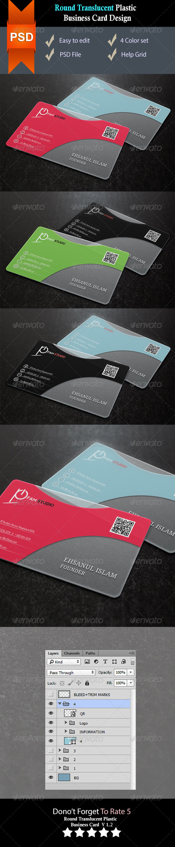 GraphicRiver Round Corners Translucent Plastic Business Card V2 8551582