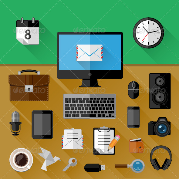 GraphicRiver Concept of Workplace Flat Icons 8551891