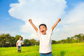 happy father and son playing in meadow with sky background - PhotoDune Item for Sale