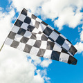 Waving in the wind checkered flag with blue sky and clouds on background - 1 to 1 ratio - PhotoDune Item for Sale