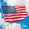 Waving in the wind USA flag with white clouds on background - 1 to 1 ratio - PhotoDune Item for Sale