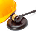 Wooden judge gavel and yellow color protective helmet - studio shoot - 1 to 1 ratio - PhotoDune Item for Sale