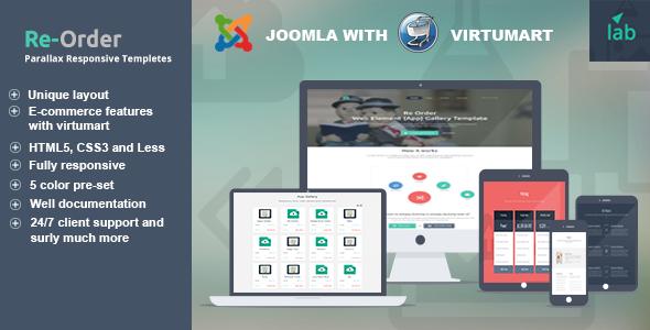 Reorder - parallax responsive  Joomla template - Joomla CMS Themes