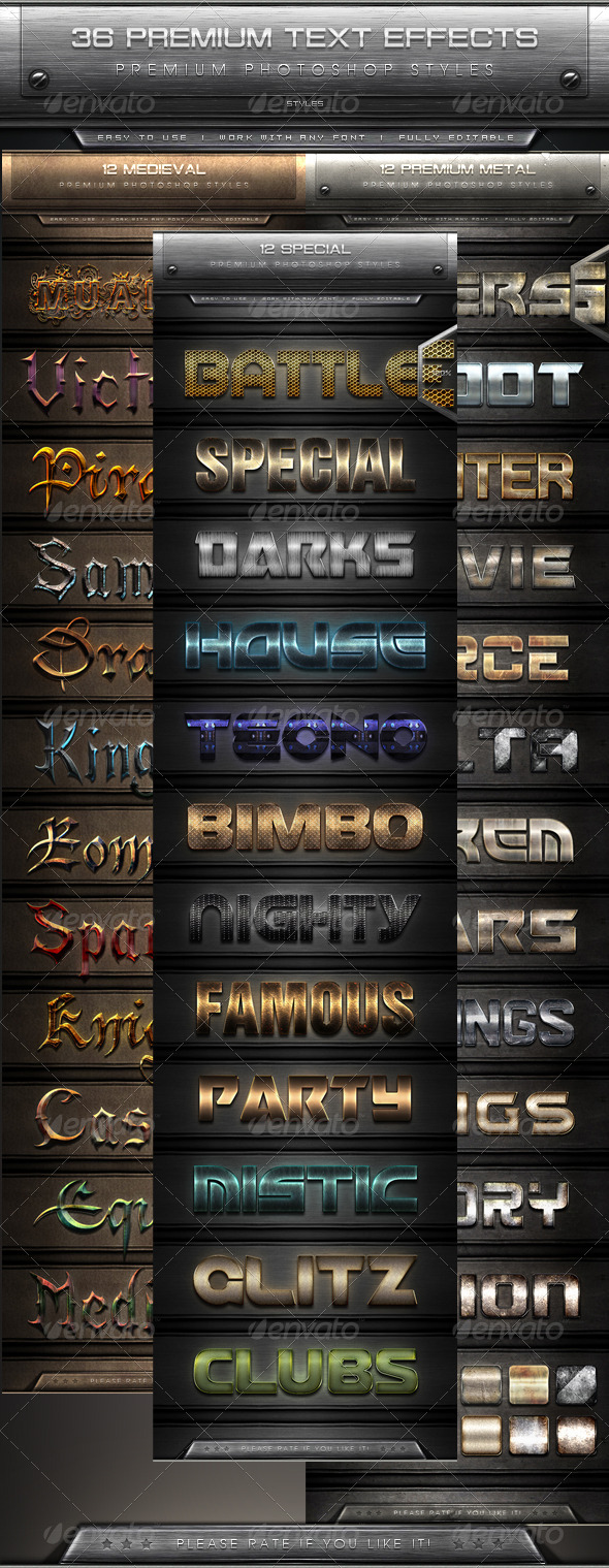 GraphicRiver 36 Premium Text Effect Styles Bundle 8552421