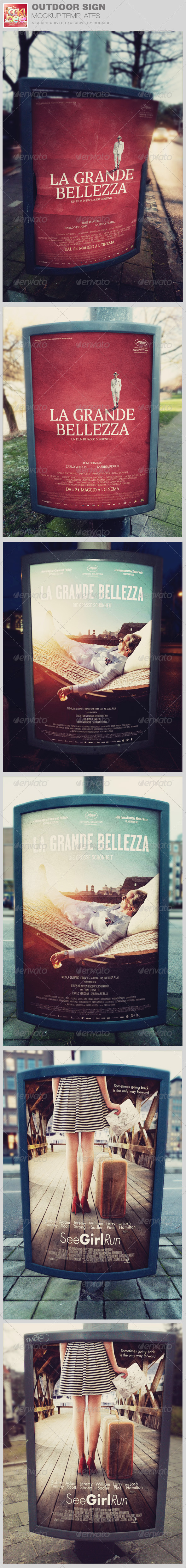 GraphicRiver Outdoor Poster Sign Mockup Templates 8552504