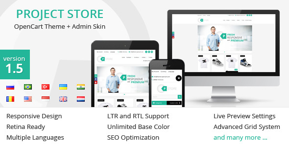 Project Store - OpenCart Theme + Admin Skin
