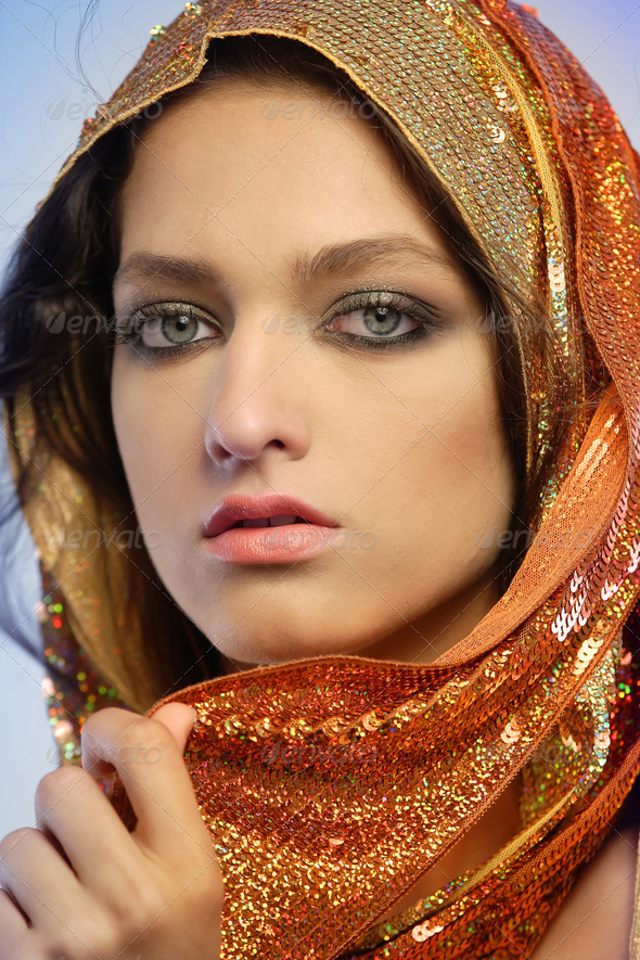 Woman wearing glamorous make up - Stock Photo - Images