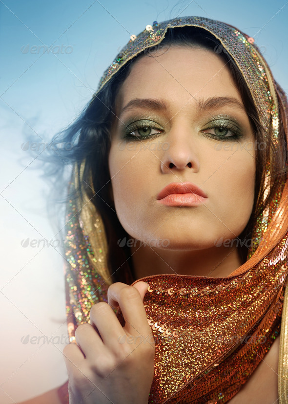 Woman wearing glamorous make up - Stock Photo - Images