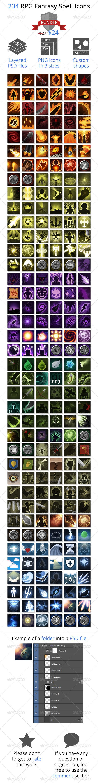 234 RPG Fantasy Spells Icons Bundle