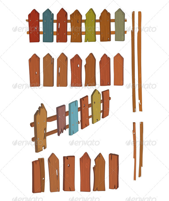 GraphicRiver Wooden Fence Cartoon 8553182