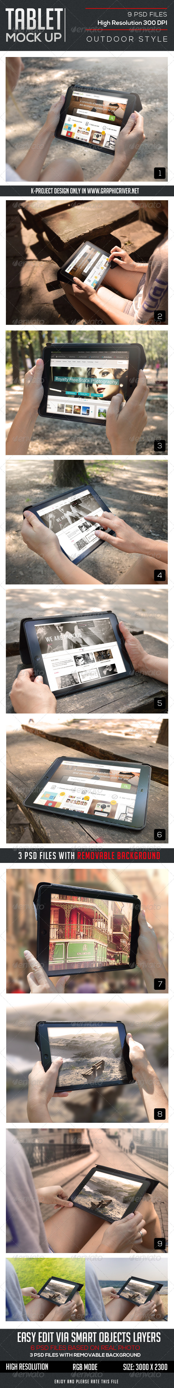 GraphicRiver Outdoor Tablet Mock Up 8553628