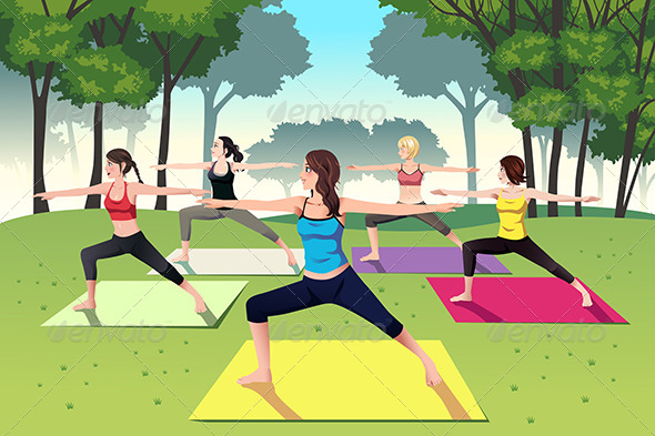 GraphicRiver Group of Women doing Yoga in the Park 8557524