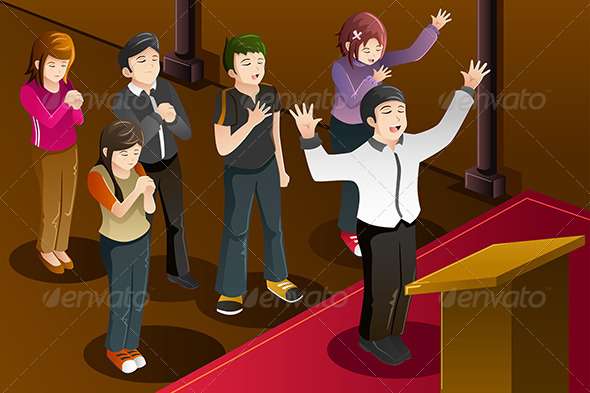 GraphicRiver People having a Group Prayer 8557530