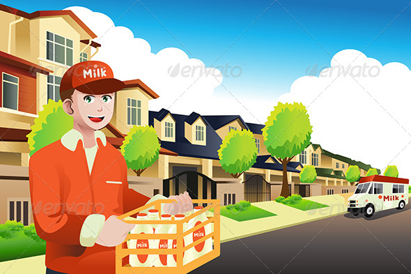 GraphicRiver Milk Delivery Man 8557534