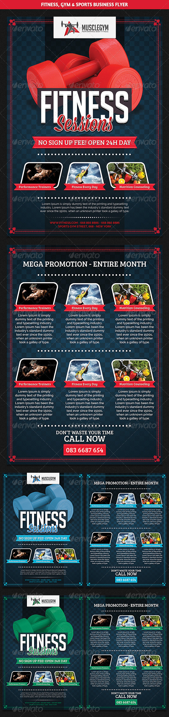 GraphicRiver Sports Fitness & Gym Promotion Flyer 8557662