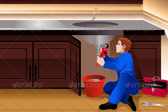 GraphicRiver Plumber Fixing a Leaky Faucet 8558532