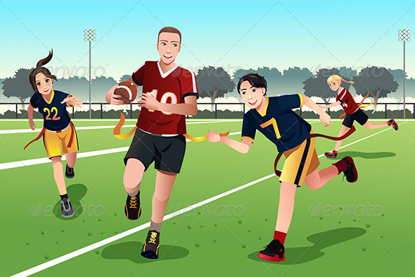 GraphicRiver Young People Playing Flag Football 8558571