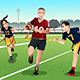 Young People Playing Flag Football - GraphicRiver Item for Sale