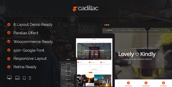 ThemeForest Cadillac 6 Multipurpose Layout Wordpress Theme 8534567