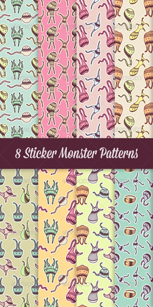 GraphicRiver 8 Sticker Monster Patterns 8558625