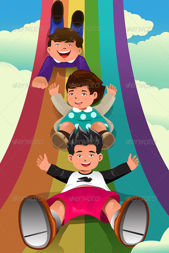 GraphicRiver Children Sliding Down the Rainbow 8558660