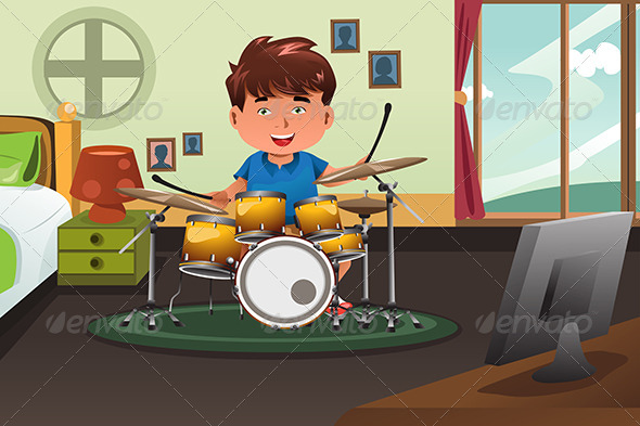 GraphicRiver Kid Practicing Drum at Home 8558863