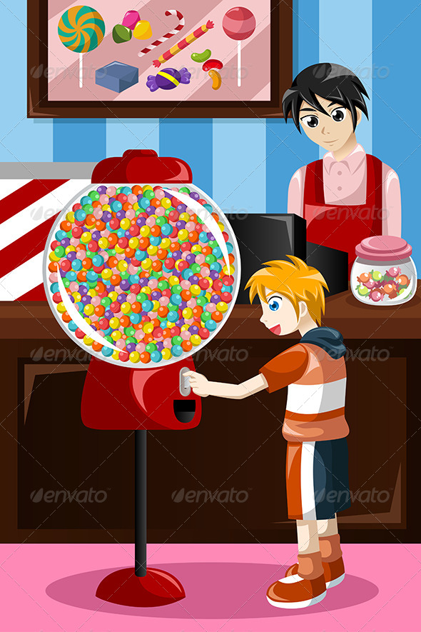 GraphicRiver Kid Buying Candy from a Vending Machine 8558893