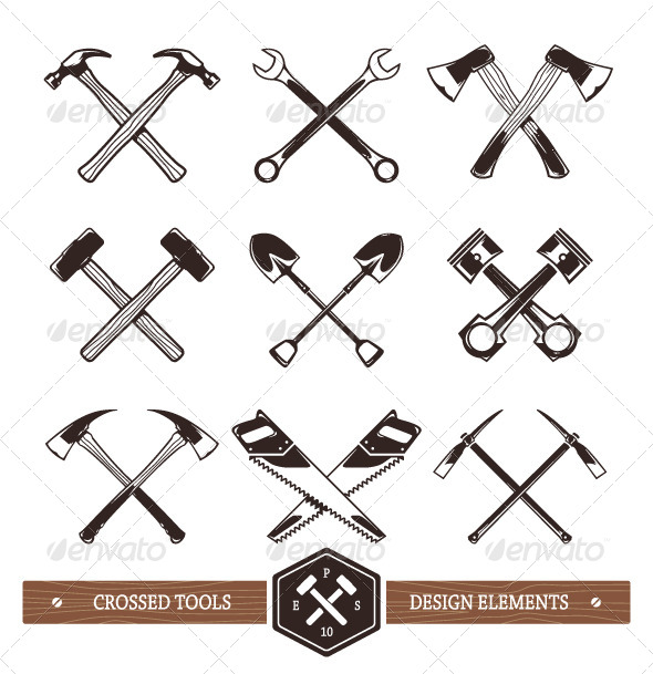 GraphicRiver Crossed Work Tools 8560131