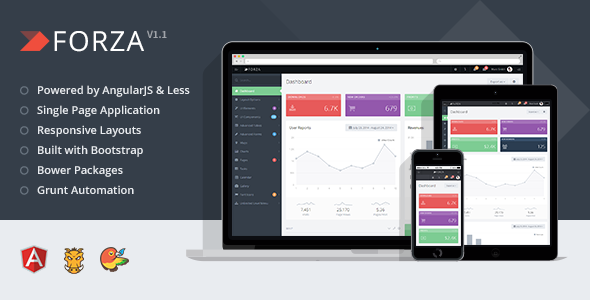 - Forza – Full-featured Admin App with AngularJS - <p>Premium Bootstrap Template</p>