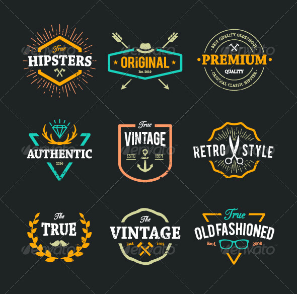 GraphicRiver Hipster Emblems 8560359