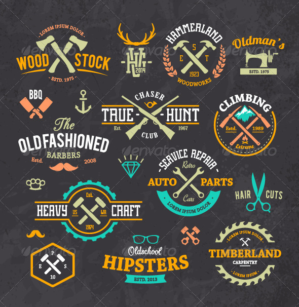 GraphicRiver Retro Emblems Set 8560376