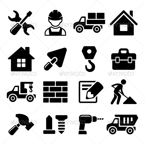 Construction Icons Set on White Background