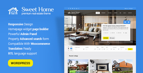 Sweethome - Responsive Real Estate WordPress Theme Download