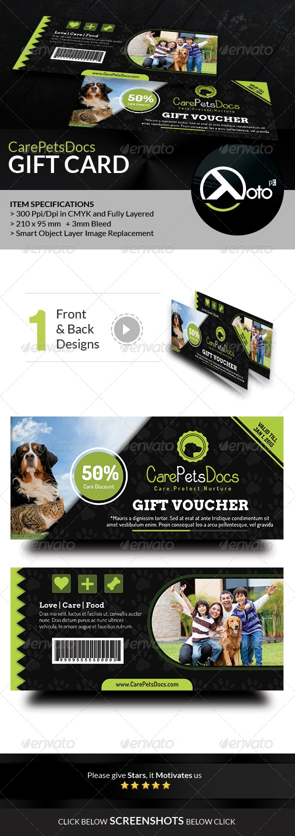 GraphicRiver Care Pets Docs Veterinary Gift Vouchers 8560515