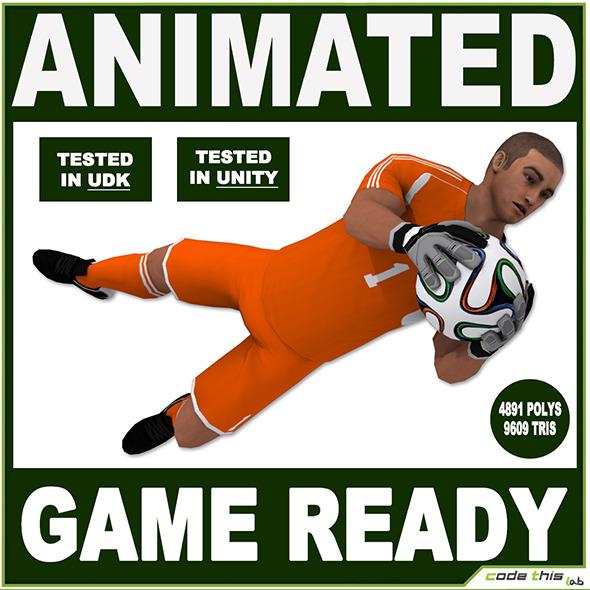 3DOcean White Soccer Goalkeeper 9609 tris 8560622