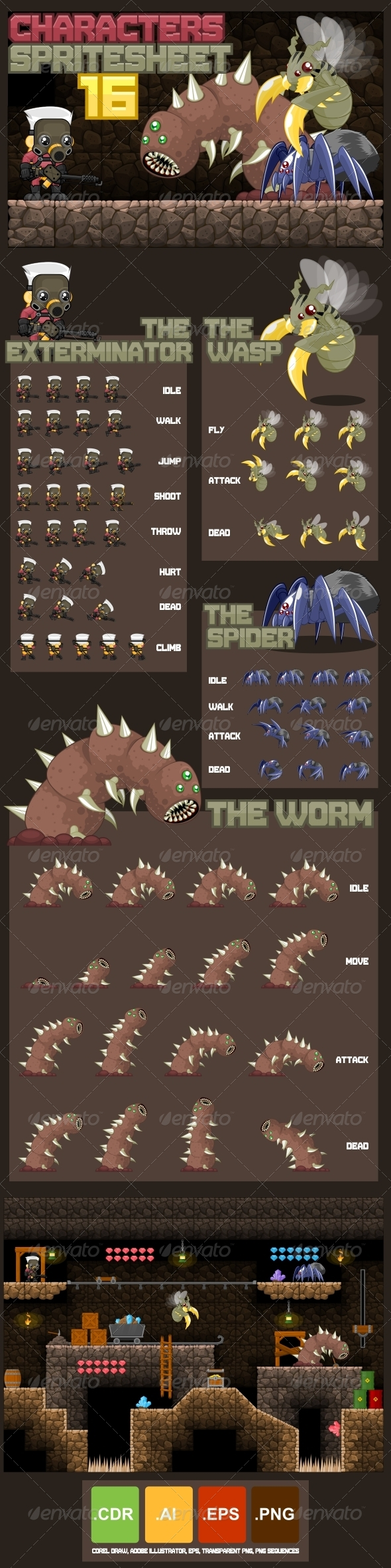 GraphicRiver Characters Spritesheet 16 8561023