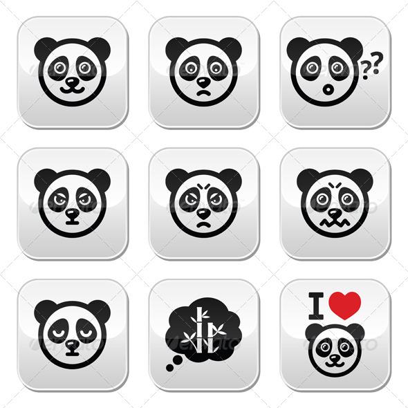 Panda Bear Buttons Set
