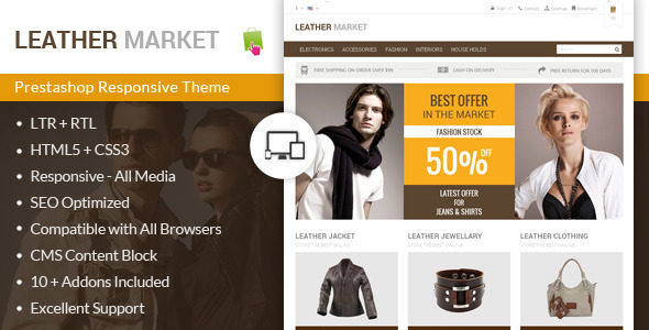 ThemeForest Leather Market Prestashop Responsive Theme 8561105
