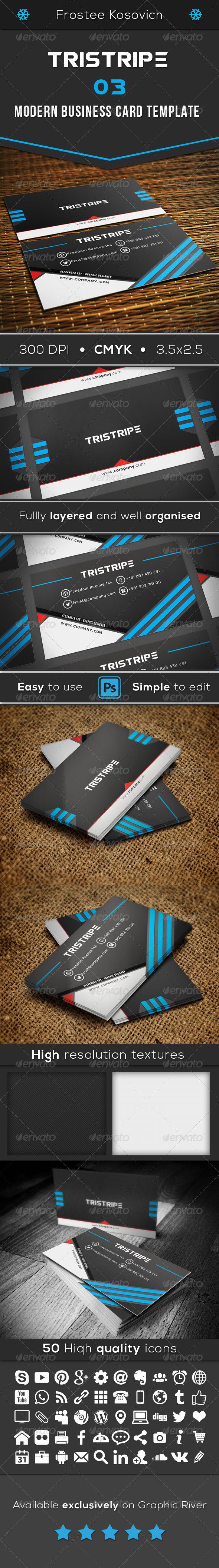 GraphicRiver Tristipe Modern Business Card Template 03 8561109