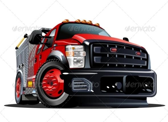 GraphicRiver Cartoon Fire Truck 8561234